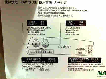 Toilet instructions at Narita Airport in Japan.