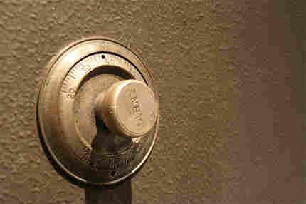 Closeup of dial on safe.