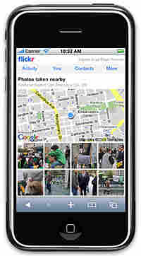 Flickr's 'photos nearby' feature seen running on an iPhone