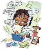 Mom bloggers juggle home life and online success. Illustration by Don Tate II, Austin American-State