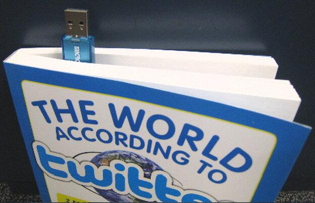 Introducing the USB bookmark! Photo by Omar L. Gallaga / NPR.