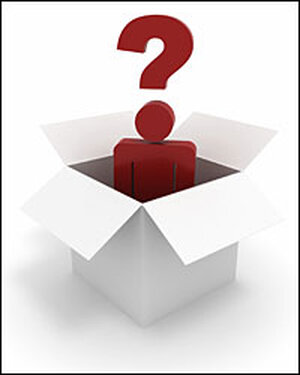 a big red question-mark guy in a box.