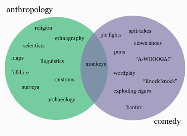 Venn diagram indicating that monkeys are common to anthropology and comedy