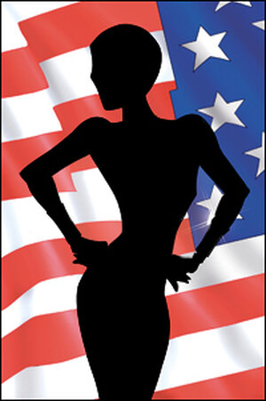 superheroine in silhouette