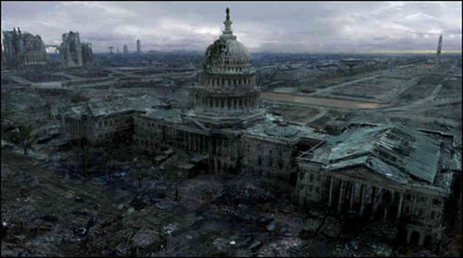 An image of a destroyed Capitol building from the videogame Fallout 3
