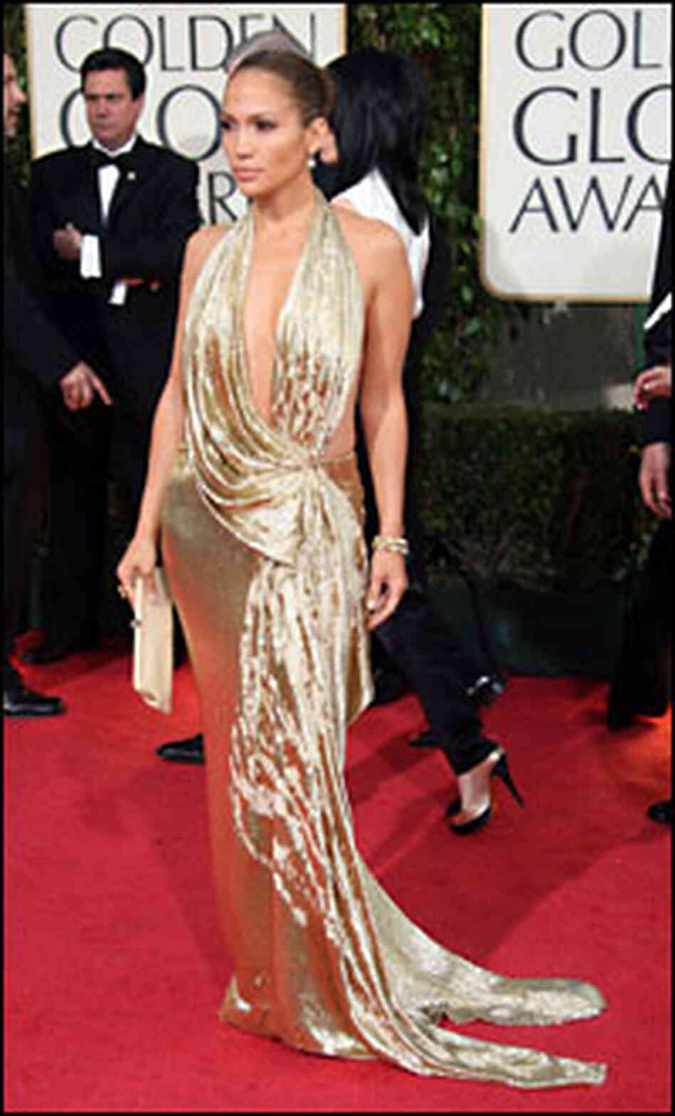 Jennifer Lopez in a sparkling gold dress at the 2009 Golden Globe awards