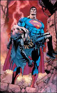 Superman carrying dead Batman