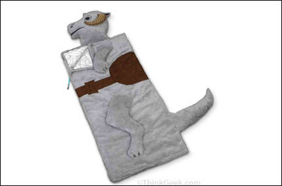 a sleeping bag shaped like a Tauntaun