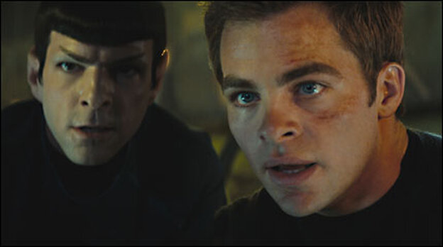 Zachary Quinto and Chris Pine as Spock and Kirk in 'Star Trek'