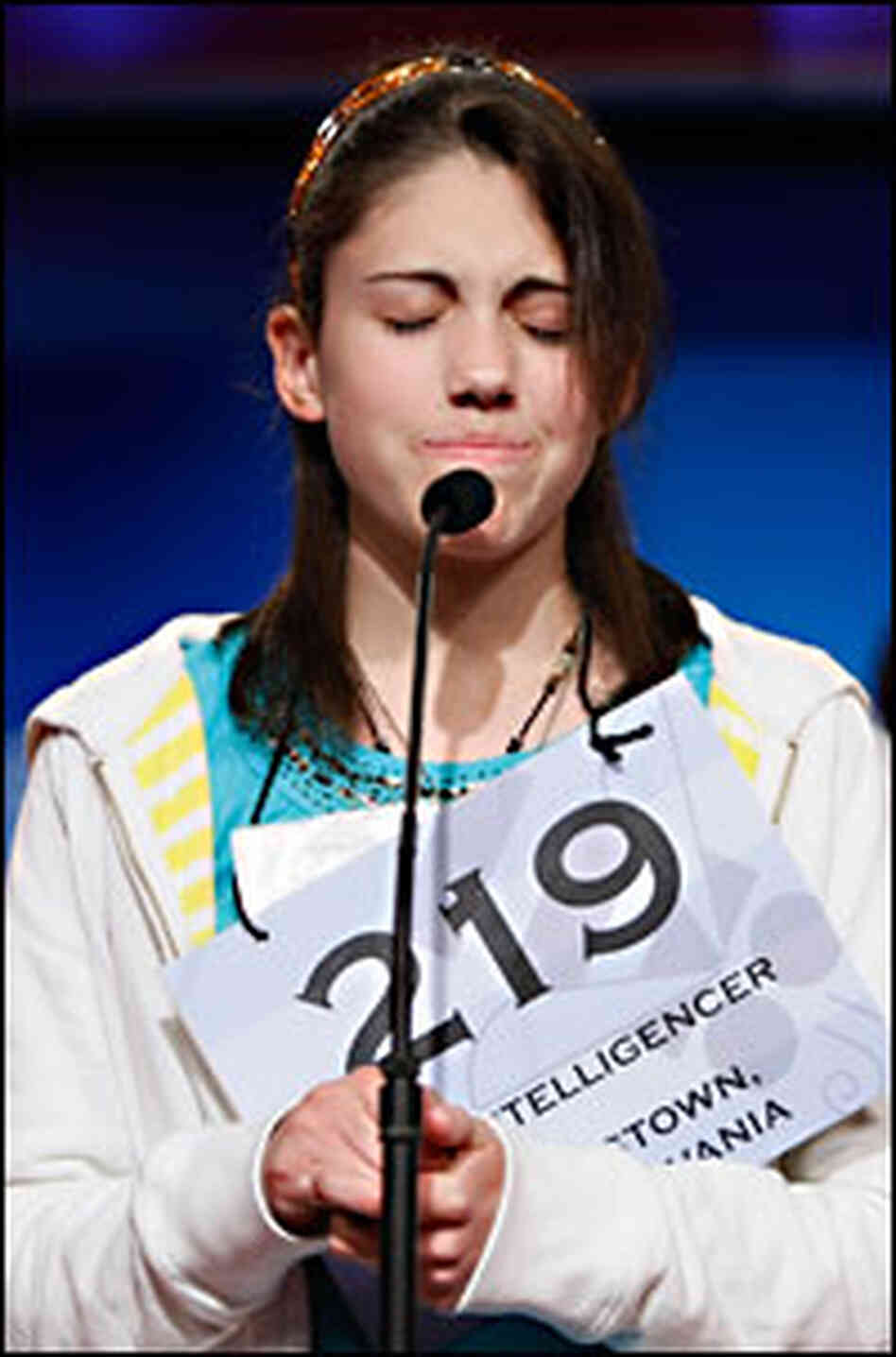 Emily Fletcher agonizes over spelling a word at the Scripps National Spelling Bee