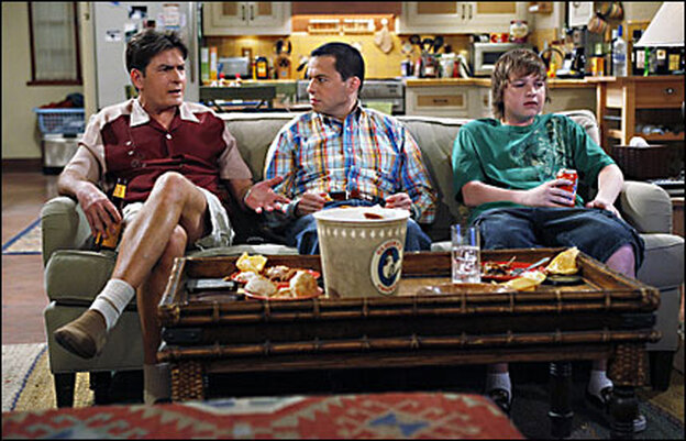 Charlie Sheen, Jon Cryer, and Angus T. Jones of Two And A Half Men