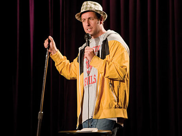 Adam Sandler doing stand-up comedy as George Simmons in Funny People.
