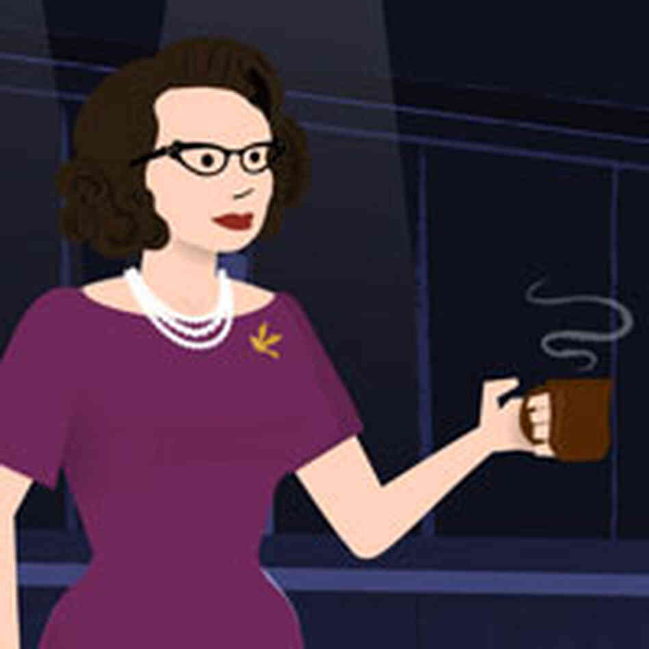 a cartoonish representation of a dark-haired woman with glasse