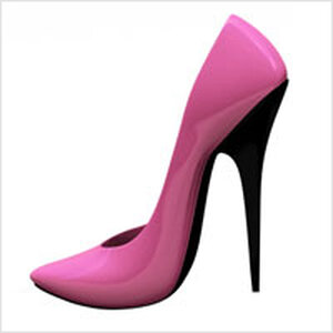 a very high heeled pink shoe.