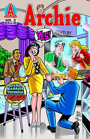 The cover of the Archie comic book in which he proposes to Veronica.