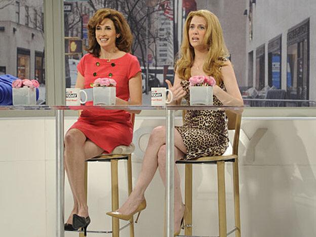 Michaela Watkins and Kristen Wiig of 'Saturday Night Live.'