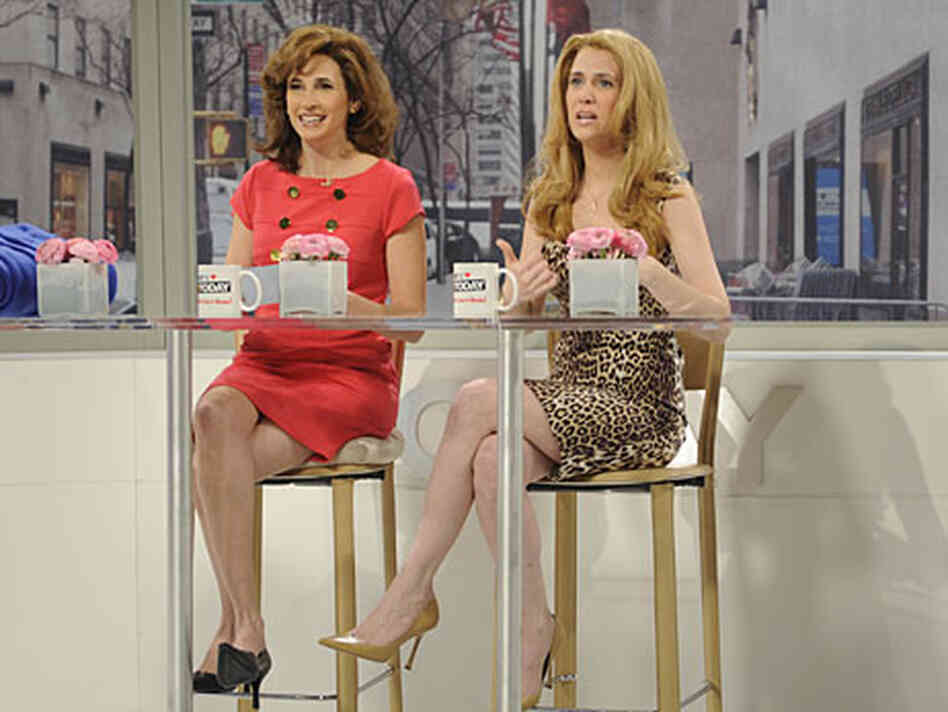 Michaela Watkins and Kristen Wiig of 'Saturday Night Live.'