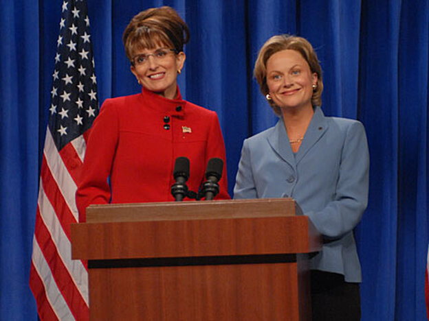 Tina Fey as Sarah Palin and Amy Poehler as Hillary Clinton on Saturday Night Live.