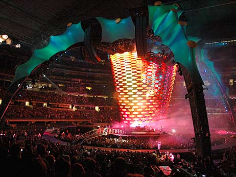 U2's new stage set, the Claw, dominates the infield at Cowboy Stadium.