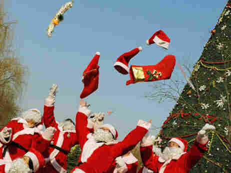 A group of aspiring Santas being trained in China.