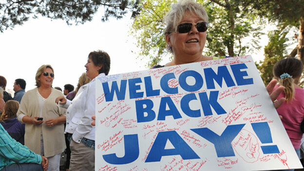 A fan holds a sign outside the premiere taping of The Jay Leno Show in the fall of 2009.