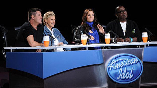 American Idol judges Simon Cowell, Ellen DeGeneres, Kara DioGuardi, and Randy Jackson.