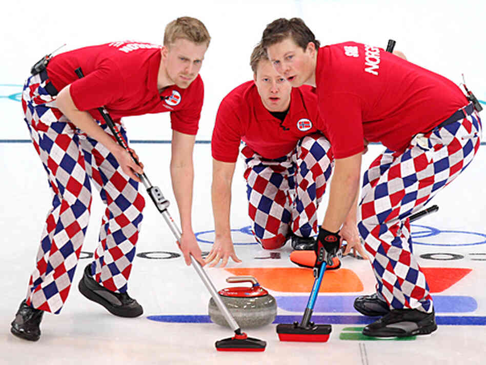 Norway's curling team competes on February 16 at the 2010 Winter Olympics.