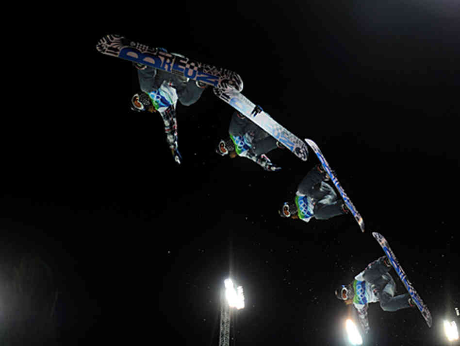Shaun White performs at the 2010 Winter Olympics and is shown in multiple exposures.