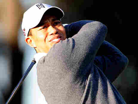 Tiger Woods practices golf at home on February 18, 2010.