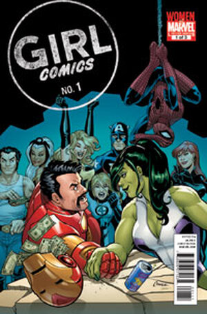 The cover showing She-Hulk arm-wrestling Iron man in front of onlookers.