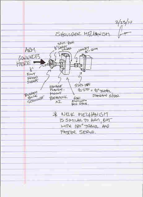 Grant Imahara's sketch of the shoulder of the roboskeleton.