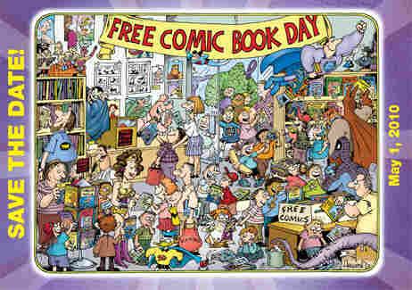 A Sergio Aragones illustration of happy people enjoying Comic Book Day.