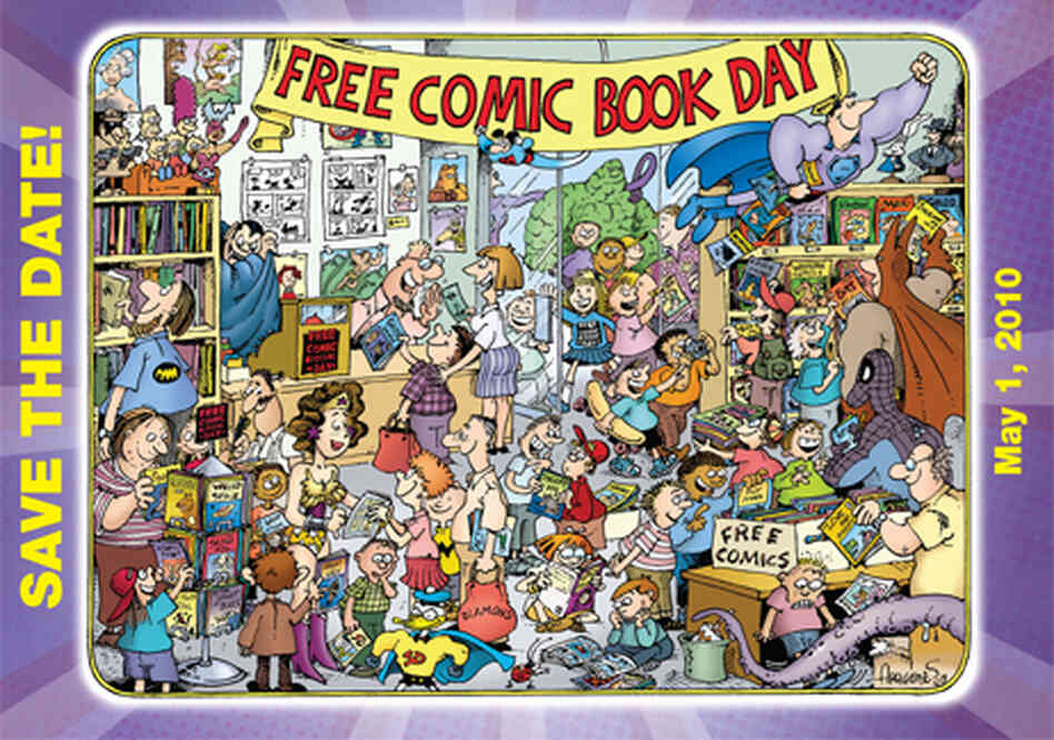 A Sergio Aragones illustration of happy people enjoying Comic Book Day.