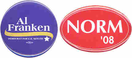 Al Franken and Norm Coleman campaign buttons.