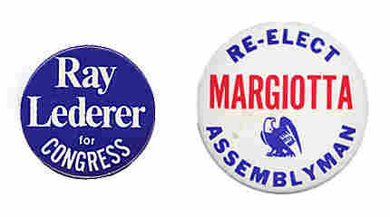 Lederer and Margiotta campaign buttons.
