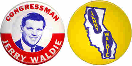 Two buttons for Congressman Jerry Waldie.
