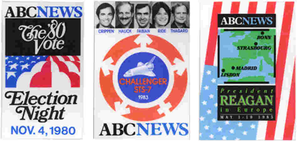 ABC News event badges from election 1980, shuttle STS-7 1983, Reagan in Europe 1985.
