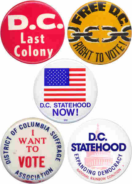 Five buttons in support of DC rights.