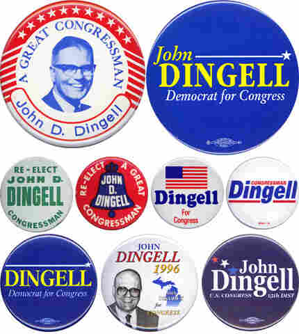 John Dingell's career in nine campaign buttons.