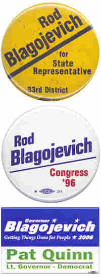 Three historic Rod Blagojevich campaign buttons