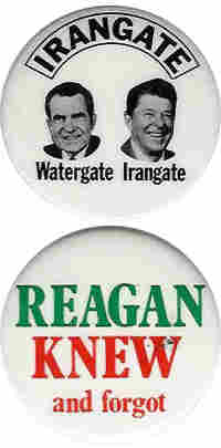 Two Ronald Reagan Irangate buttons.