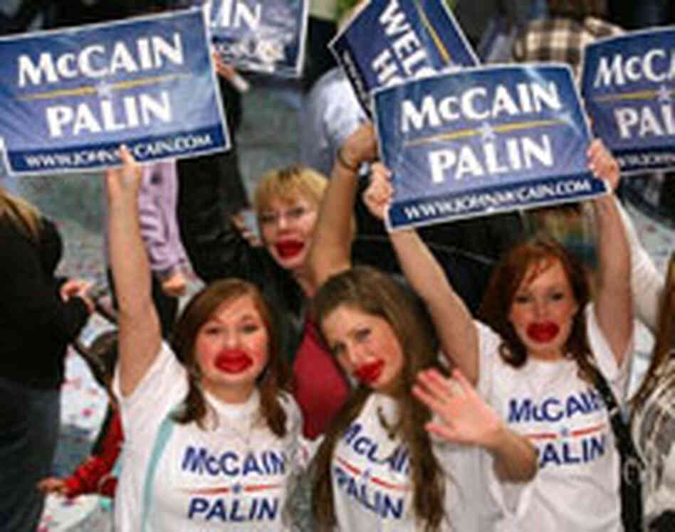 Supporters of Republican vice presidential candidate Alaska Gov. Sarah Palin wear toy red lips on Se