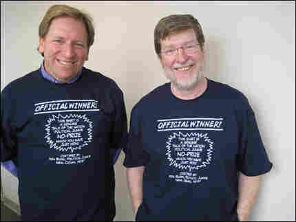 Ken Rudin and Neal Conan wearing Official Winner t-shirts.