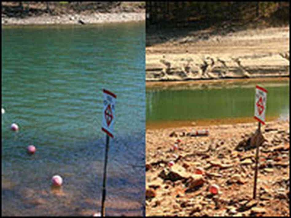Georgia's Lake Lanier, a year ago versus now.