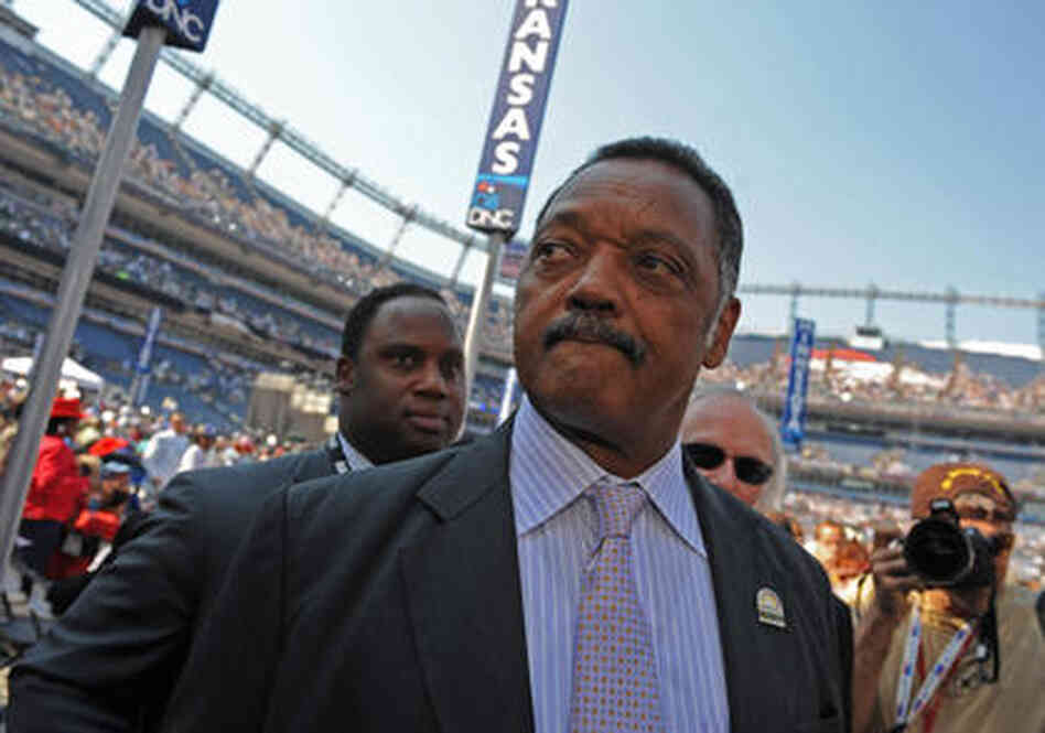 Rev. Jesse Jackson makes his way through Invesco Field at the Democratic National Convention 2008