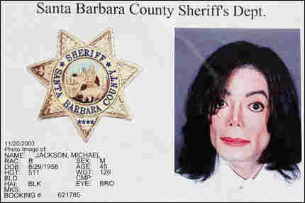 Michael Jackson is shown in a Santa Barbara Sheriff's booking office in Santa Barbara, California,