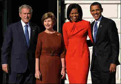 President George W. Bush, left, First Lady Laura Bush, Michelle Obama and president-elect Barack O