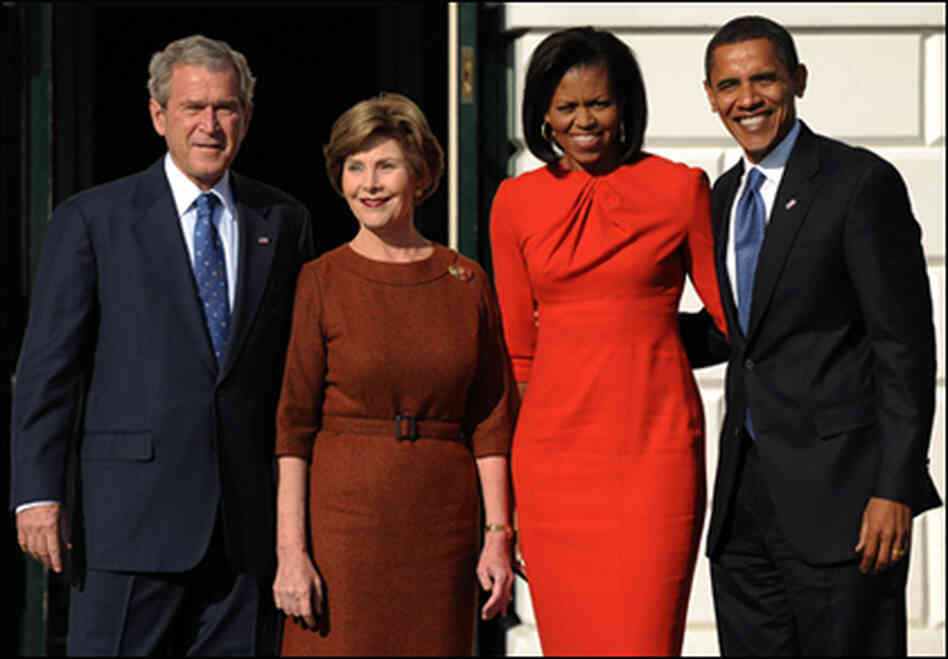 President George W. Bush, left, First Lady Laura Bush, Michelle Obama and president-elect Barack O