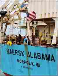 "A U.S. flag can be seen on merchant ship ""Maersk Alabama"" as she sits moored at the Mombasa port o"