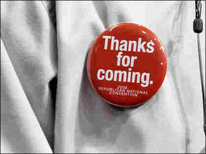 An attendee of the Republican National Convention (RNC) in St. Paul sports a decorative button.
